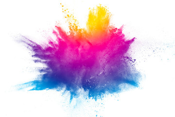 Explosion of rainbow color powder on white background. Wall mural