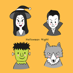 Cartoon cute character Halloween vector.