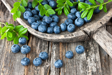 Blueberries with leaves on  old wooden table