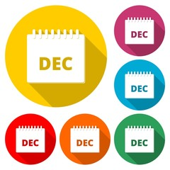 December calendar icon, Calendar sign, December month symbol, color icon with long shadow