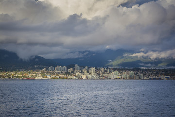 Cloudy day looking at North Vancouver skyline