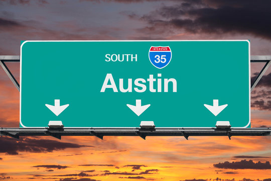 Austin Texas Route 35 Freeway Sign with Sunset Sky