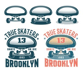 Authentic American retro emblem with skateboard front view. Old school style. Worn texture on a separate layer.