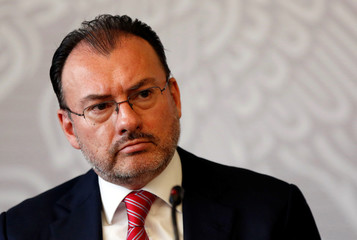 Mexico's Foreign Minister Luis Videgaray looks on during a news conference in Mexico City