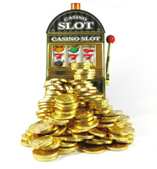 retro slot machine with 777 and lots of gold