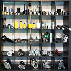 Spare parts for trucks cars in shop