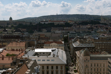Aerial of Budapest Pest site center city and Buda castle in the background