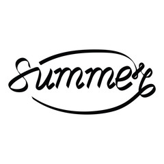 "Hand lettered text ""Summer"". Calligraphic season inscription. Vector handwritten typography"