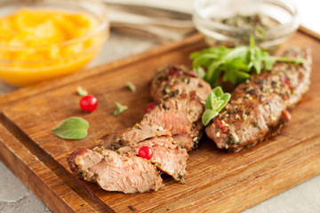 Roasted lamb fillet with spicy crust