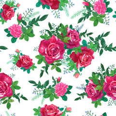 Red ,pink roses, green leaves
