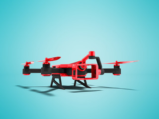 Modern red quadrocopter with black inserts for smartphone with insertion of camera camera 3D render on blue background with shadow