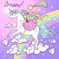 Dream! A cat is a unicorn with hearts and stars. Vector illustration for your design