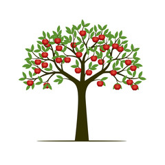 Green Spring Tree with Leaves and red apple fruits. Vector Illustration.