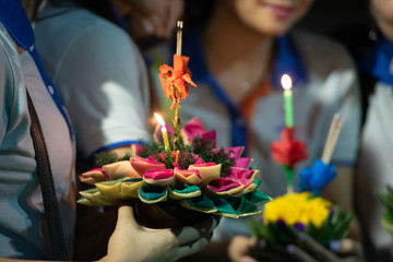 Colourful of Loi Krathong or Loy Ka Tong,  traditional Siamese festival celebrated annually throughout the Kingdom of Thailand.