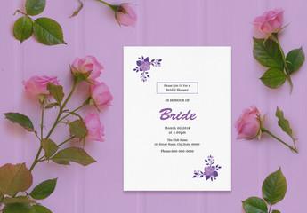 Wedding Invitation Layout with Purple Roses