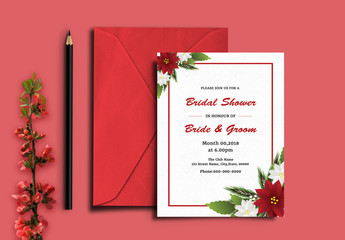 Bridal Shower Invitation Layout with Red and White Flowers