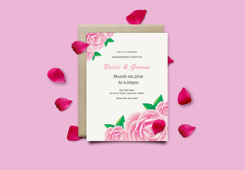 Engagment Party Invitation Layout with Large Pink Roses