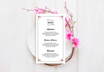 Wedding Menu Layout with Floral Corner Elements
