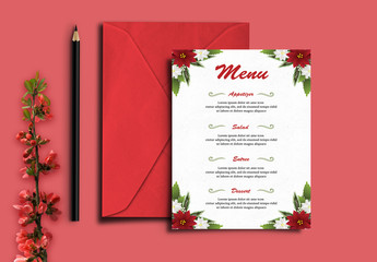 Wedding Menu Layout with Red and White Flowers