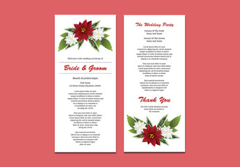 Wedding Program Layout with Red and White Flowers