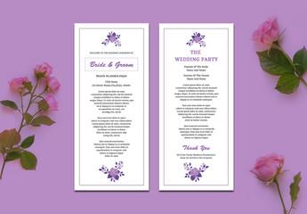 Wedding Program Layout with Purple Roses
