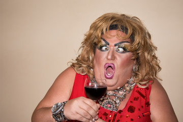 Funny fat woman and red wine.