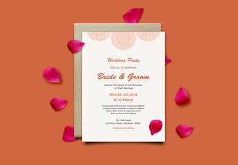 Wedding Invitation Layout with Orange Mandala Element