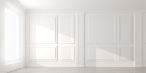 Perspective of the sun light cast the shadow on white empty room and  laminate wood floor,classic interior style.blank space architecture.3d rendering Wall mural