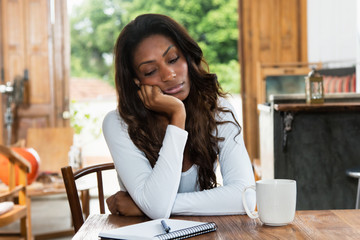 Tired african american woman with depression