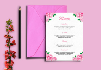 Wedding Menu Layout with Floral Corner Elements