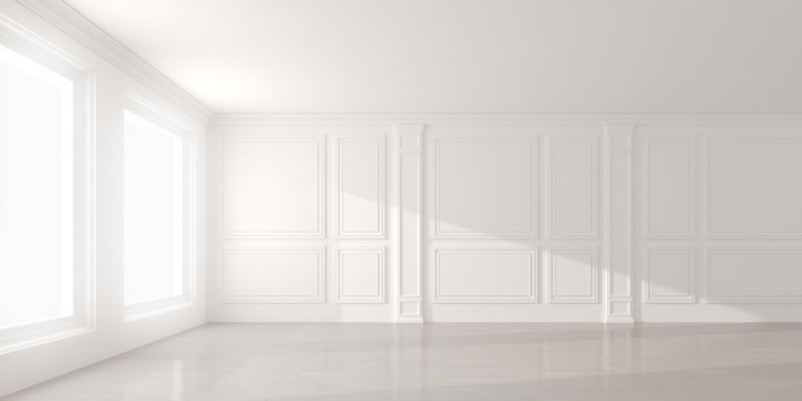 Perspective of the sun light cast the shadow on white empty room and  laminate wood floor,classic interior style.blank space architecture.3d rendering