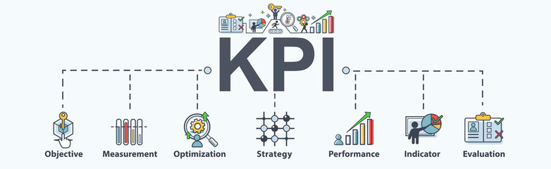 KPI (key performance indicators)banner web icon for business, Measurement, Optimization, Strategy, Evaluation and check list. Minimal vector infographic.