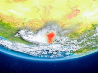Benin on globe from space