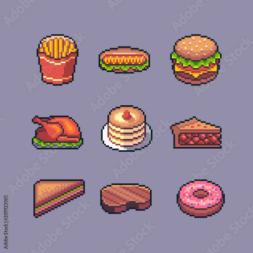 Pixel Art American Popular Street Food Vector Set Stock Image And