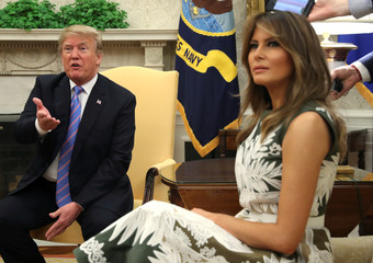 U.S. President Trump welcomes Spain's King Felipe VI and Queen Letizia at the White House in Washington