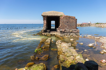 Ruins of the old fortification on the Baltic seashore.