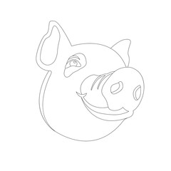 pig head  coloring vector illustration line drawing front