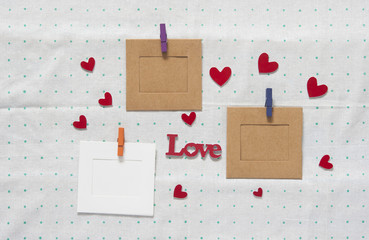 blank instant photos with word love