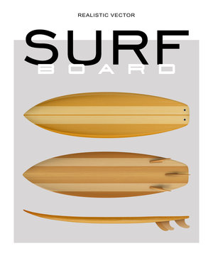 Surf board wood realistic vector
