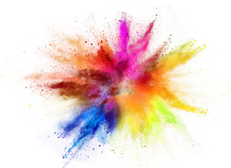Colored powder explosion isolated on white background. Wall mural
