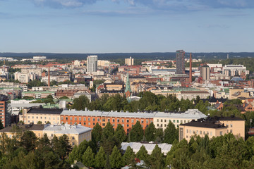 Buildings in downtown Tampere, Finland, viewed from above on a sunny day in the summer.