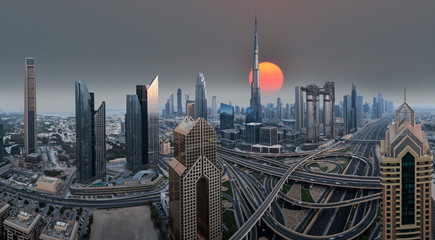 Dubai skyline during sunrise, United Arab Emirates.