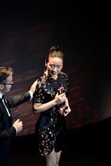 Taiwanese chef Jessie Liu receives the 50 Best BBVA Scholarship award during the World's 50 Best Restaurants Awards at the Palacio Euskalduna in Bilbao