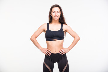 Athlete engaged in fitness on a white background
