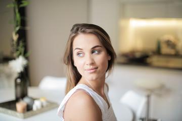 Portrait of fresh faced woman