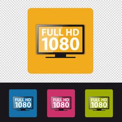 Full HD 1080 Television Icon - Colorful Vector Illustration - Isolated On Transparent Background