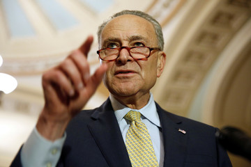 Senate Minority Leader Chuck Schumer (D-NY) speaks after the Democratic weekly policy lunch on Capitol Hill in Washington