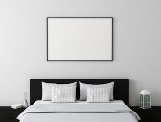 Poster frame mock up in modern bedroom 3d rendering