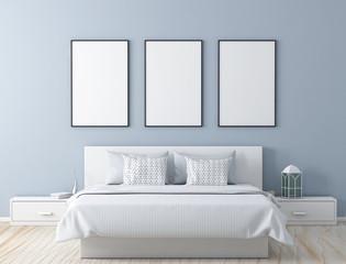 Poster frame mock up in modern bedroom 3d rendering