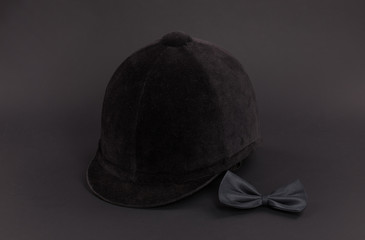 jockey helmet isolated on a black background